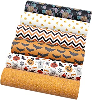 """David Angie Halloween Theme Printed Faux Leather Sheet Glitter Synthetic Leather Sheet Assorted 6 Pcs 7.9"""" x 13.4"""" (20 cm ..."""