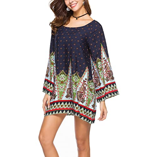 18510a697c Risesun Women s Bohemian Vintage Printed Ethnic Style Loose Casual Tunic  Dress