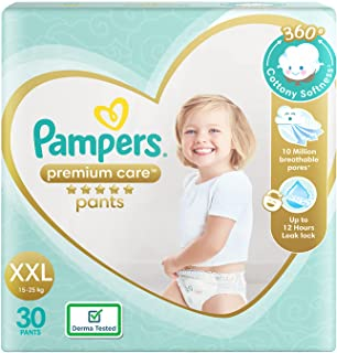 Pampers Premium Care Pants, Double Extra Large size baby diapers (XXL), 30 Count, Softest ever Pampers pants