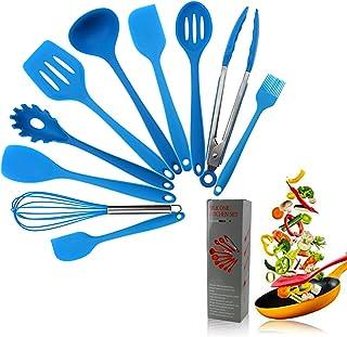 Kitchen Utensils Silicone Heat Resistant Kitchen Cooking Utensil Non-Stick Kitchen Utensil Set 10 Piece Cooking Set Non-Stick Kitchen Tools Turner, Whisk, Spoon,Brush,spatula,Pasta Fork(Blue)