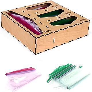 Ziplock bag storage organizer–Kitchen Drawer Organizer Compatible With Ziploc, Solimo, Glad, Hefty For Gallon, Quart, Sand...