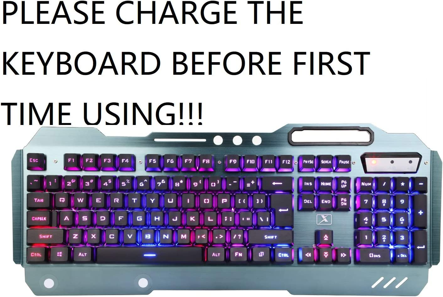 Wireless Gaming Keyboard and Mouse Combo, Rainbow Backlit Rechargeable Keyboard Mouse with 3800mAh Battery, Metal Panel Mechanical Feel Keyboard with Removable Hand Rest (Black)