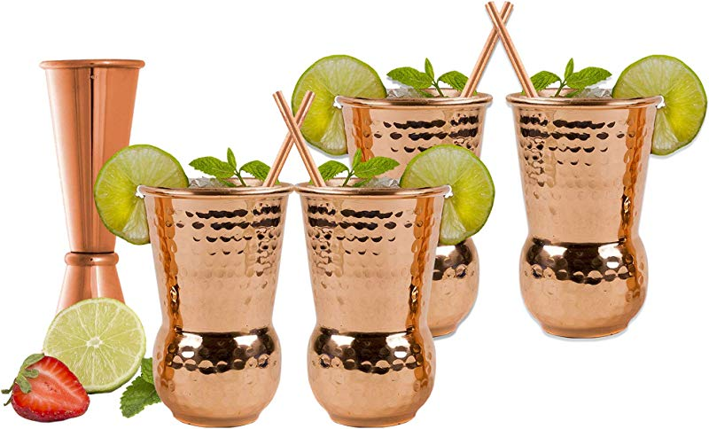 EXTRA THICK HEFTY 20 Gauge Moscow Mule Copper Mugs By Eximius Power 100 Pure Food Safe Copper Drinking Cups 16 Oz Hammered Design Handcrafted Tumblers Bonus Jigger And 4 Straws 4