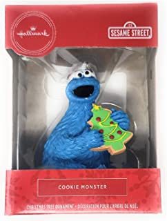 Hallmark Cookie Monster Wearing Red Hat and Holding Cookie Tree Ornament