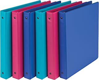Samsill Fashion Color 3 Ring Storage Binders, 1 Inch Round Ring, Assorted Colors May Vary (Blue Coconut, Dragon Fruit, Blueberry), Bulk Binders - 6 Pack