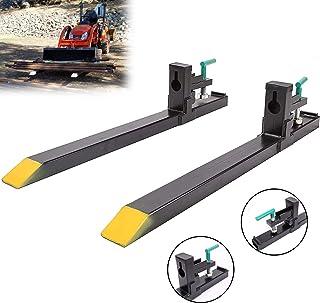 30'' Clamp on Loader Bucket Skidsteer Tractor Pallet Fork 1500lbs Capacity