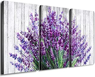 Rustic Lavender Home Decor Canvas Wall Art Retro Style Purple Flowers Picture on White Vintage Wood Background Rural Modern Artwork for Living Room Bedroom Office Decoration 18 x 24 Inch 3 Panel