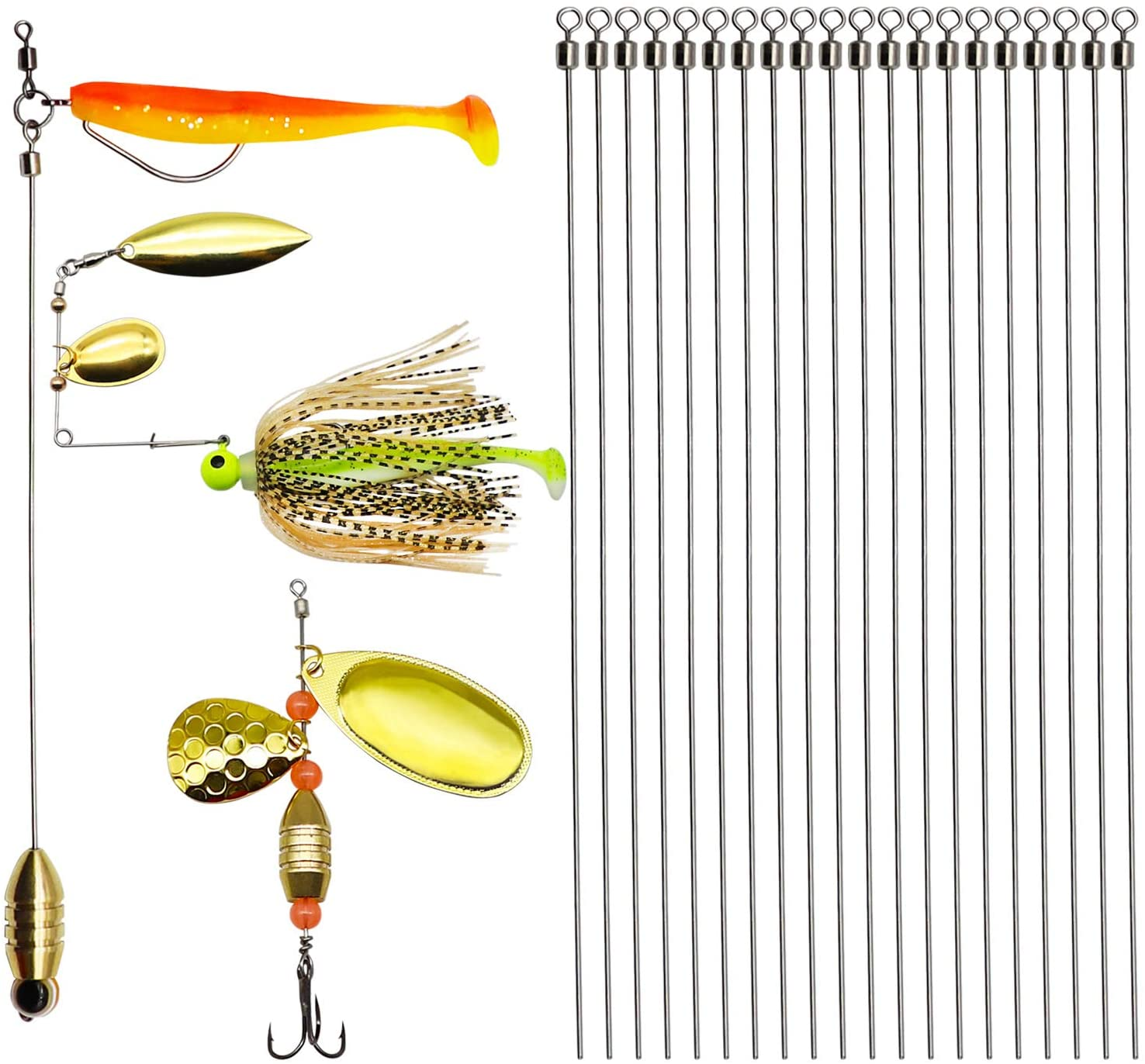 """6/"""" Long 25 Open Eye Stainless Steel Fishing Salmon Spinner Lure Wire .035"""