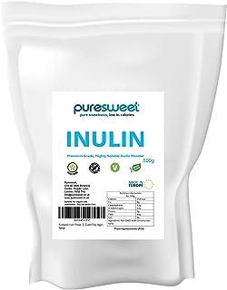 Puresweet Inulina en polvo de fibra prebiótica 500 g, sin OMG, grado premium, altamente soluble, fabricado en la UE, Fructo Oligosaccharide (FOS), sin gluten, vegano.