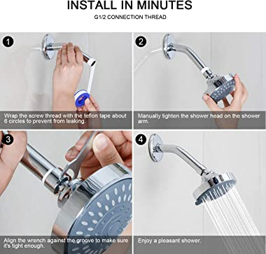 High Pressure Shower Head Hopopro 5 Modes Bathroom Showerhead 4.1 Inch High Flow Shower Head with Adjustable Ball Joint for L