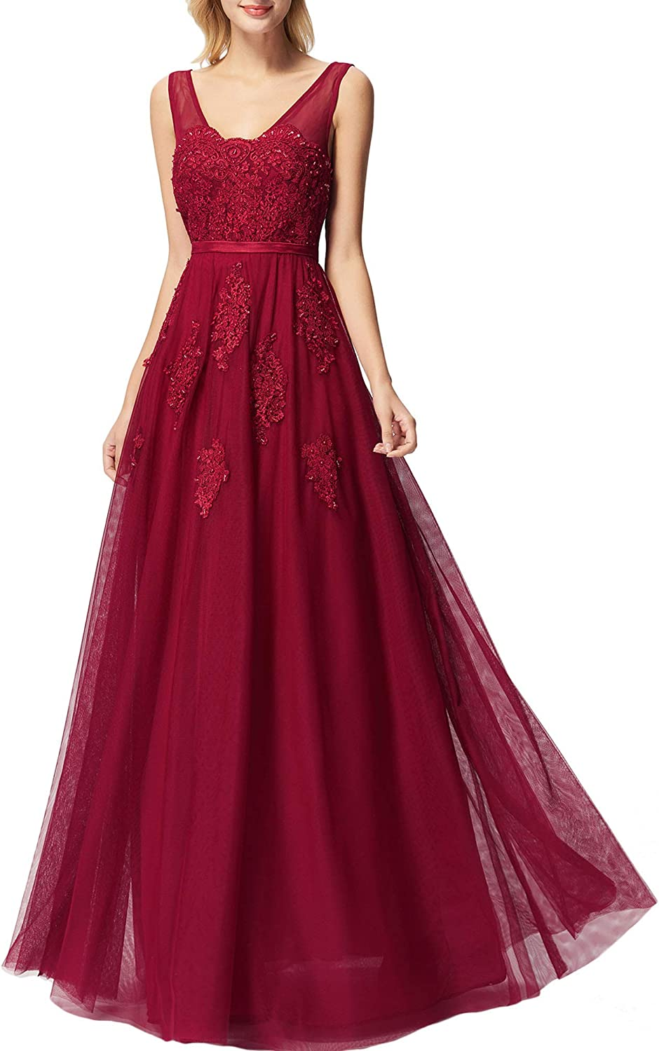 Promworld Women's Lace Applique Prom Dress Tulle Double V Neck Evening Gowns Formal Dresses