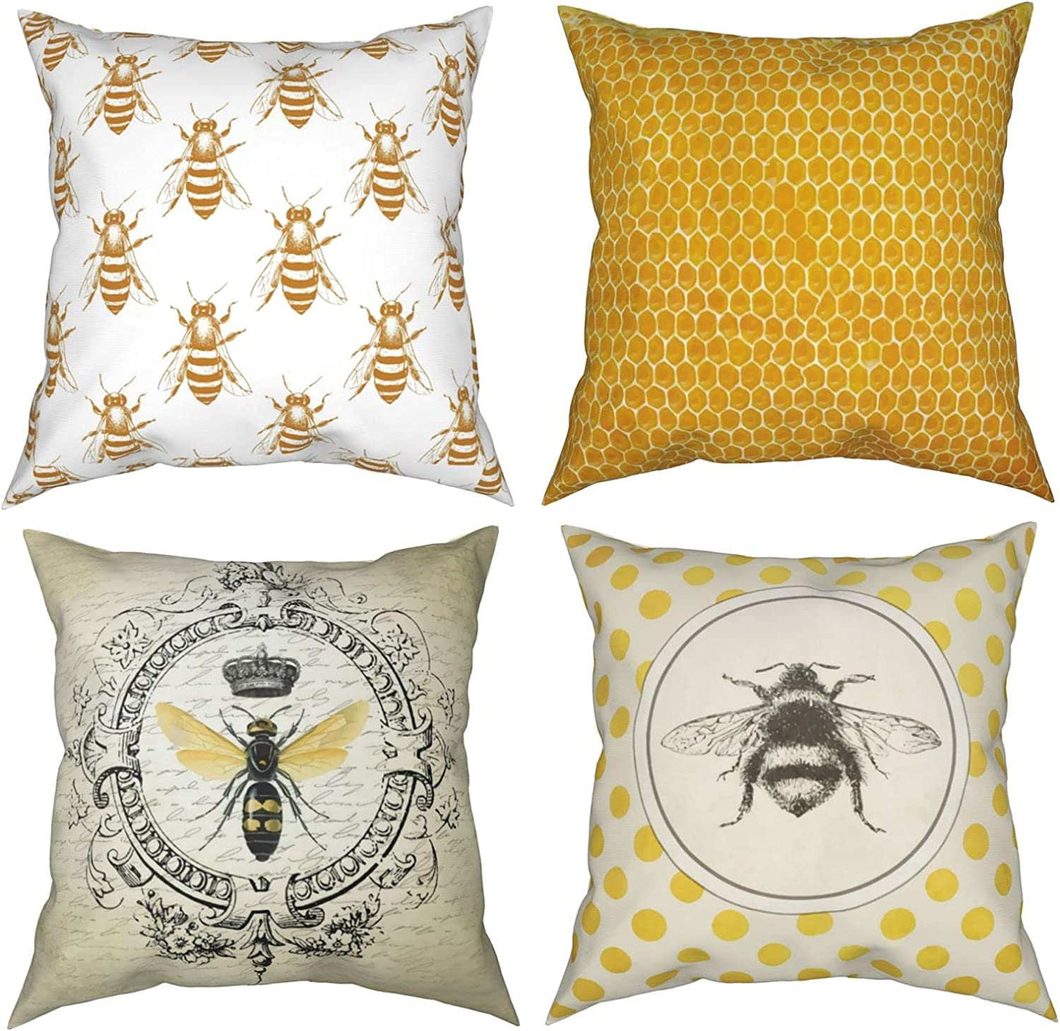 My 2021 model Moreyea Yellow Bee Throw Pillow Vintage 4 Cover of ...