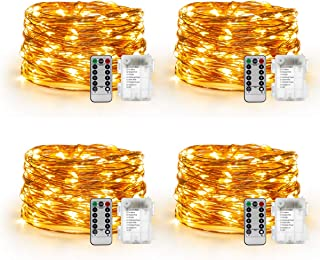 YIHONG 4 Set Fairy Lights Battery Operated - Led String Lights 8 Modes 16.4Ft 50 LED Starry Lights - Copper Wire Firefly Lights for Wedding Birthday Party Christmas Decoration - Warm White