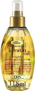 OGX, Olio rivitalizzante rapido e delicato per capelli, Anti-breakage + Keratin Oil, Weightless Rapid Reviving Oil, Olio d...