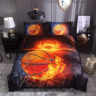 Lldaily 3D Sports Basketball Bedding Set for Teen Boys,Duvet Cover Sets with Pillowcases,Queen Size,3PCS,1 Duvet Cover+2 Pillow Shams,(Comforter not Included)