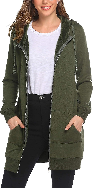 Zeagoo Women Casual Zip Up Fleece Hoodies Tunic Sweatshirt Long Hoodie Jacket