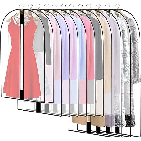 HOWAF 12PCS Housses de Vêtements AVCE Zip, Anti Poussière Etanche Mite Humidité, Anti-Poussière Housses de Protection Transparentes pour Chemise Costumes Manteaux Clothes Covers Sac de Vêtement