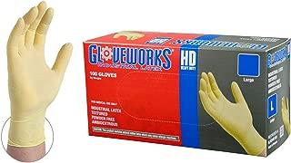 GLOVEWORKS HD Industrial White Latex Gloves - 8 mil, Powder Free, Textured, Disposable, Medium, ILHD44100-BX, Box of 100