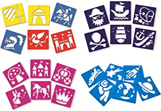 Craftplay AMZ021FS Washable Plastic Fantasy pack-24 Stencils included-15cm x 14.5cm Children's Arts and Crafts