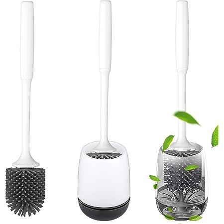 QTTO Brosse WC - Set de brosse de toilette et support à séchage rapide - Brosse WC en silicone avec effet anti-adhérent - Brosse de toilette en silicone pour salle de bain et WC, brosse WC