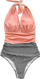 CUPSHE Women's Stripe Halter One-Piece Swimsuit Keeping You Accompained Swimwear