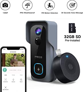【32GB Preinstalled】WiFi Video Doorbell,MECO 1080P Doorbell Camera with Free Chime, Wireless Doorbell with Motion Detector, Night Vision, IP65 Waterproof, 166°Wide Angle, 2 Way Audio, 2.4GHz WiFi