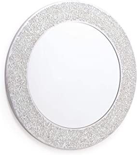 Home Treats Round Crackle Wall Mirror Handmade Glass Mosaic Silver Frame 40 x40cm New …
