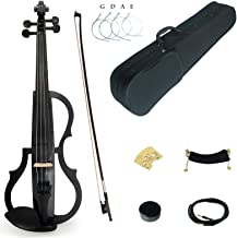 Kinglos 4/4 Black Grid Colored Solid Wood Advanced 3-Band-EQ Electric/Silent Violin Kit with Ebony Fittings Full Size (SDDS1311)