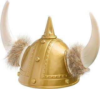 Amscan 390155 Deluxe Gold Viking Plastic Helmet with White Horns