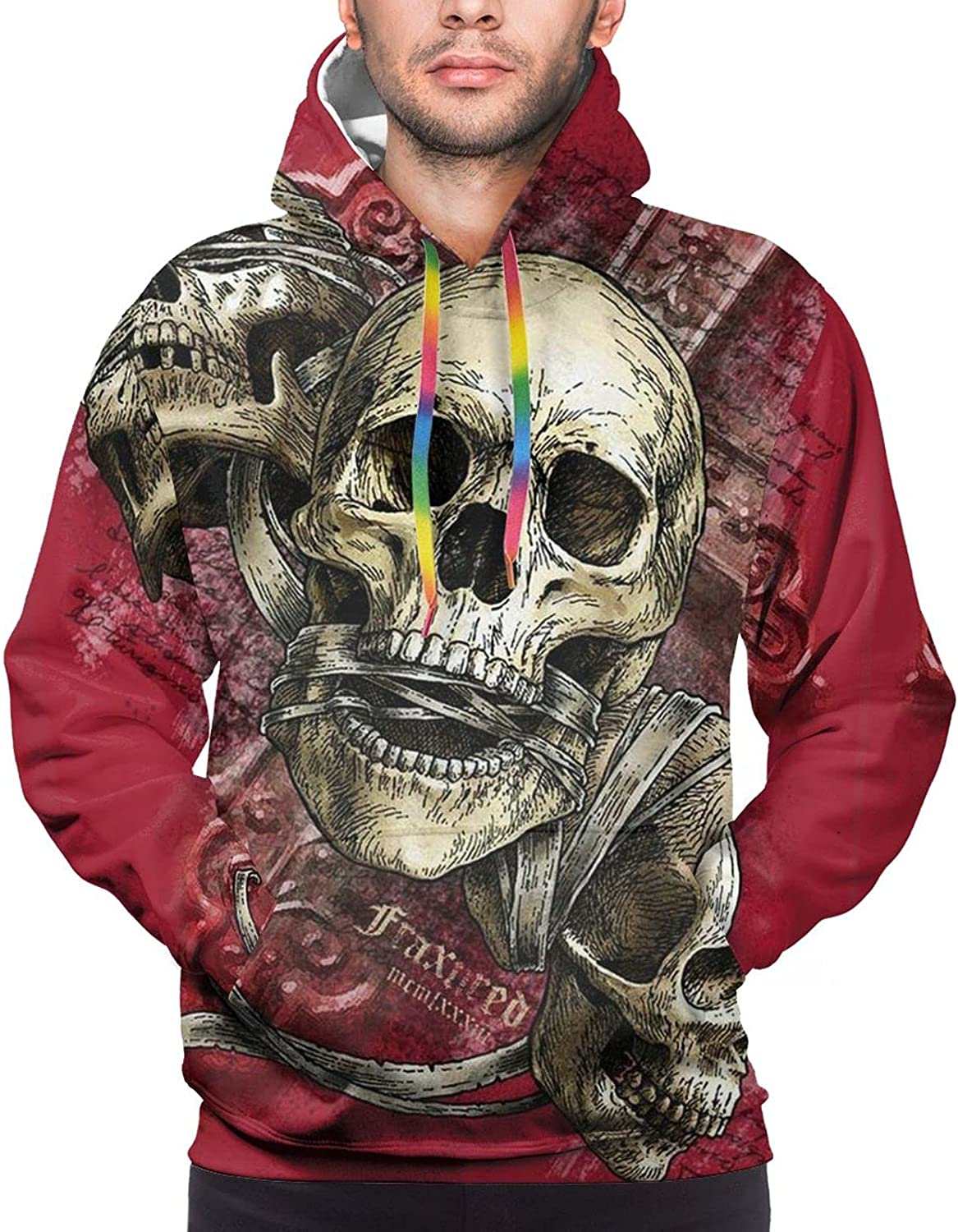Hoodie For Teens Boys Girls Red Back Skull Face Hoodies Outdoor Sports Sweater