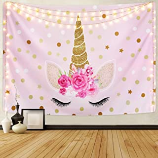 Romeooera Unicorn Tapestry, Cartoon Unicorn Tapestry with Sparkling Glitter Unicorn Head and Flower Pink Unicorn Wall Tapestries Wall Hanging for Daughters Girls Kids Unicorn Themed Room