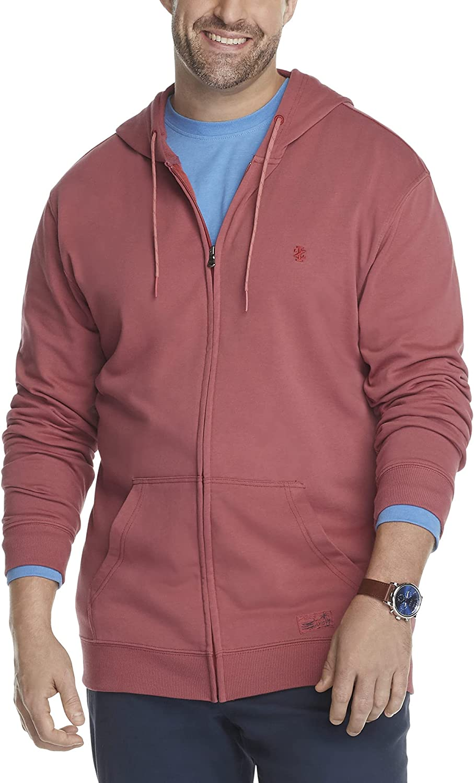 IZOD Men's Big and Tall Saltwater Long Sleeve French Terry Full Zip Hoodie Sweatshirt