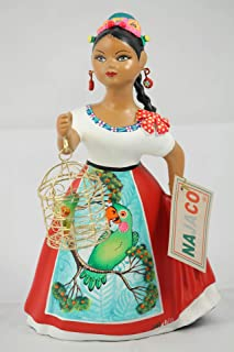 NAJACO Premium Mexican Lupita Doll Holding Parrot in Cage (Red)