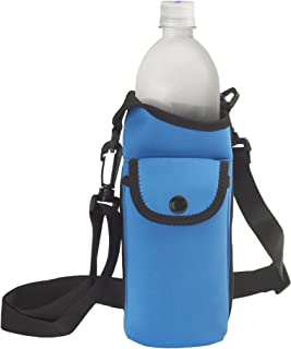 Neoprene Water Bottle Carrier Bag with Phone Case and Zip Pocket