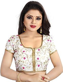 7af17da866c5af Spangel Fashion Embroidered White Flower Round Neck Women's Saree's Blouses