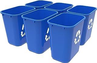 Storex Medium Recycling Basket, 15 x 10.5 x 15 Inches, Blue, Case of 6 (STX00714U06C)