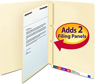 Smead 68027 Manila Self-Adhesive End/Top Tab Folder Dividers, 2-Sections, Letter (Box of 100)