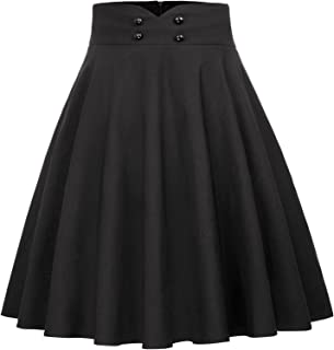 Belle Poque Women's High Waist A-Line Pockets Skirt Flared Button Midi Skirt