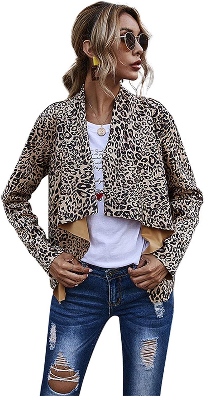 Women's Leopard Cardigan Asymmetrical Free Shipping Baltimore Mall Cheap Bargain Gift Front Draped Jackets Open