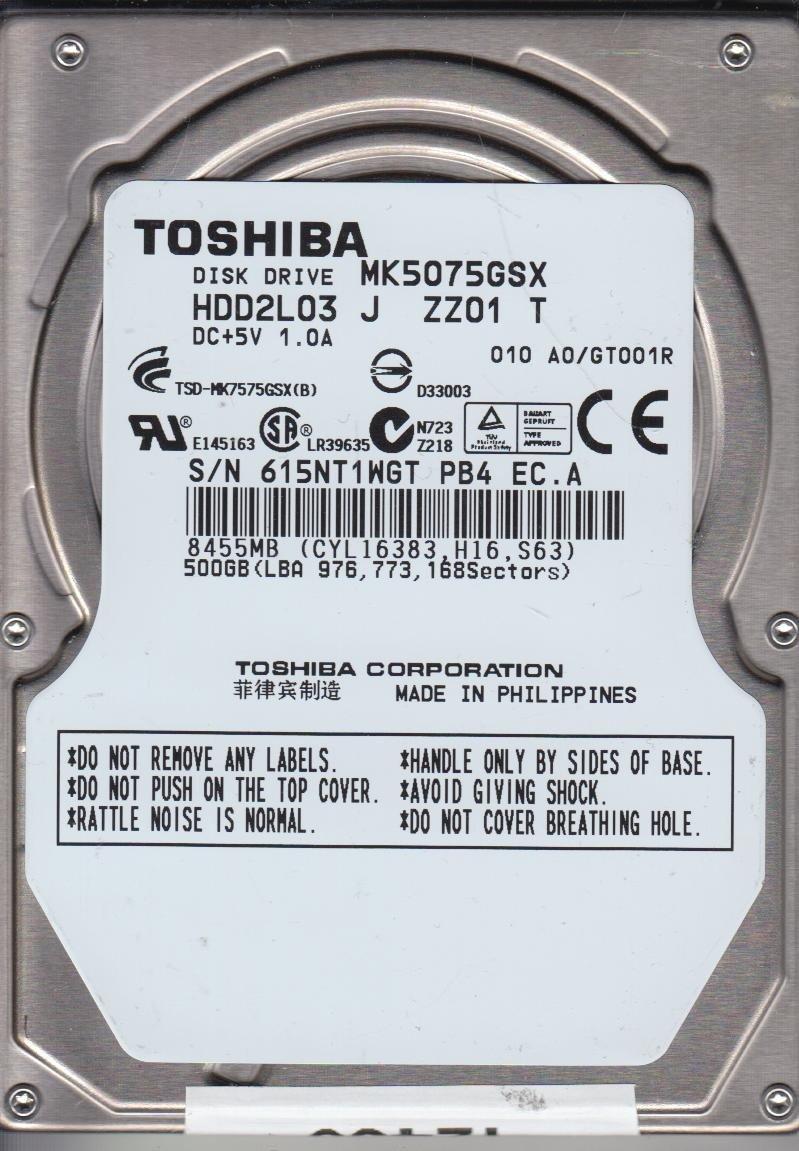 MK5075GSX, HDD2L03 Z SL01 B, Toshiba 500GB SATA 2.5 Disco Duro ...