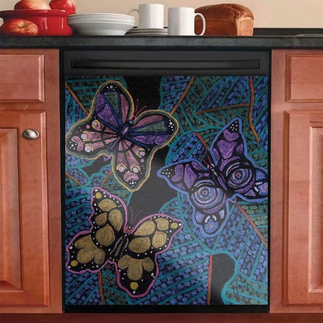 2020春夏新作 Beautiful Butterfly Kitchen Dishwasher Cover Ho Magnetic 秀逸 Sticker