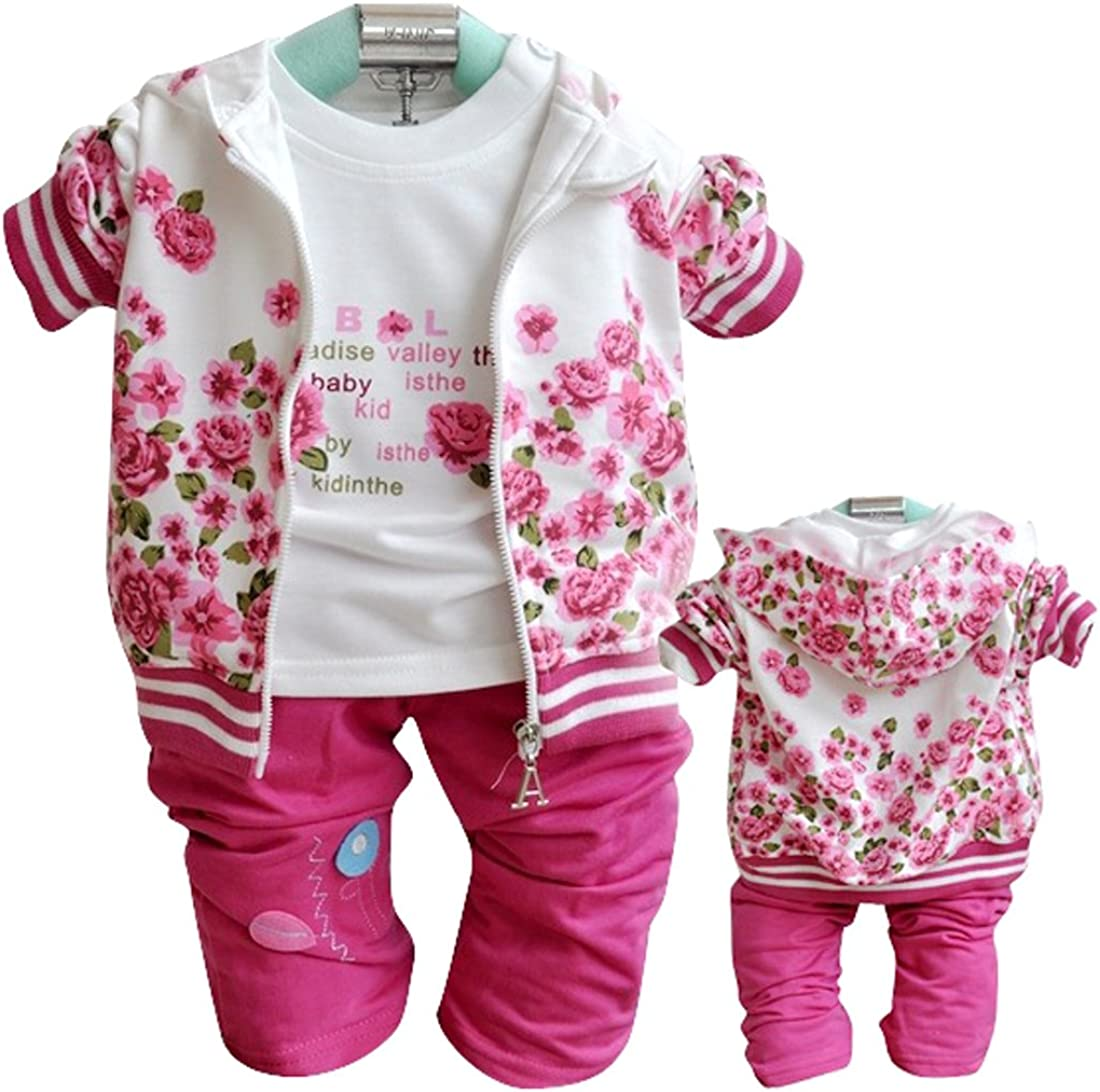 SOPO Baby Girl Casual 3 Piece Set Flower Print Jacket Floral Top