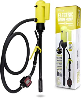 TERA PUMP Genuine 22.6-33.5 inch 55 Gallon Drums Telescopic Plug-in - Electric Barrel Pump with Flow Meter for Diesel/Gasoline/Kerosene/DEF/AdBlue/Antifreeze/Windshield Washer
