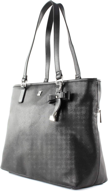 JETTE Saffiano Bow Sac à main porté à l'épaule 40 cm Black / Shiny Silver