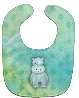 "Caroline's Treasures BB7389BIB Polkadot Hippopotamus Watercolor Baby Bib, 10 x 13"", multicolor"