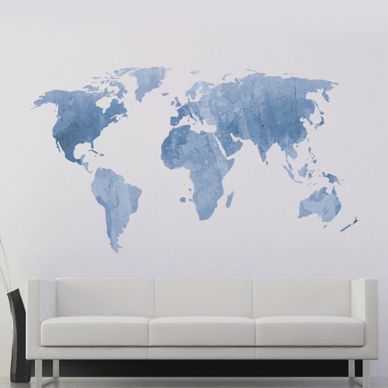 decalmile Mapa del Mundo Pegatinas de Pared Vinilos Decorativas ...