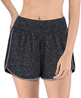 AxByCzD Womens Banded Waist Workout Running 2 in1 Shorts with Liner Inner Pockets