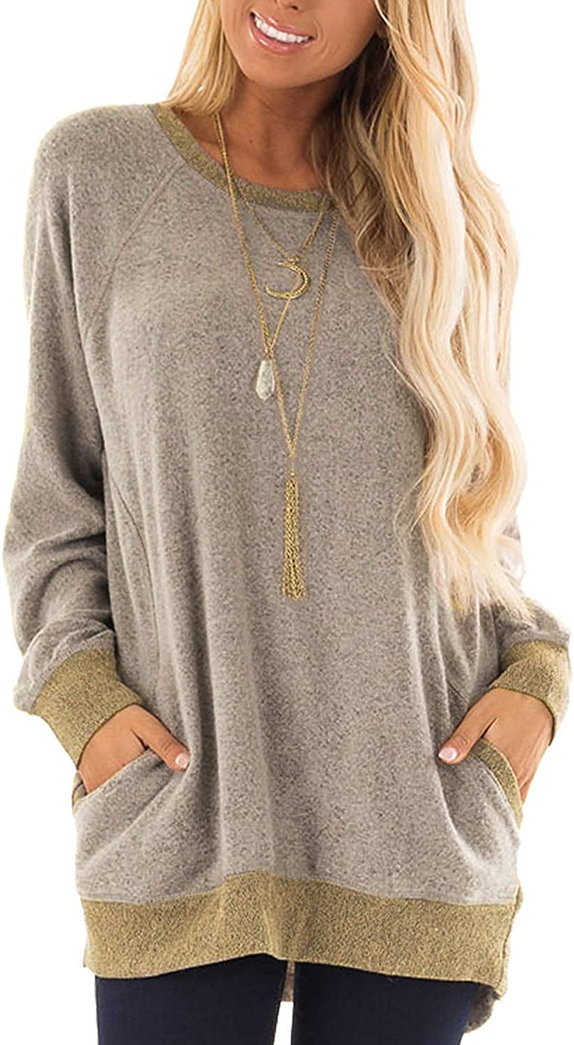 Women's Shirts with Pocket Casual Pullover Sweaters Long Sleeve T Shirts Sweatshirts Tops Blouses