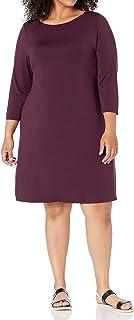 Women's Plus Size 3/4 Sleeve Boatneck Dress