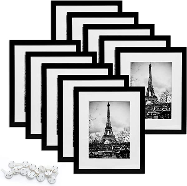 Upsimples 8x10 Picture Frame Set Of 10 Multi Photo Frames Collage For Wall Or Tabletop Display Black